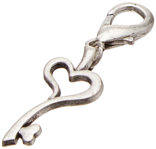 Mirage Pet Products Chrome Lobster Claw Charm for Pets, Heart Key (Charm Sweet Pet)