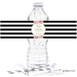 Andaz Press Floral Gold Glitter Print Wedding Collection, Personalized Water Bottle Label Stickers, 20-Pack, Custom Name