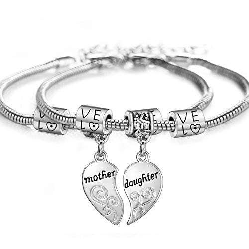 2PCs Matching Heart Mother Daughter Bracelets Mother Daughter Jewelry Set Gift for Mom or Daughter