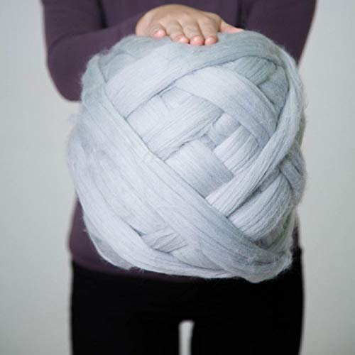 Giant Wool Yarn Chunky Merino Arm Knitting Super Soft Wool Yarn Bulky Wool Roving Grey 8 lbs (Best Yarn To Make A Blanket)