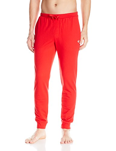 Emporio Armani Men's French Terry Classic Lounge Pant with Waistband, Red, L