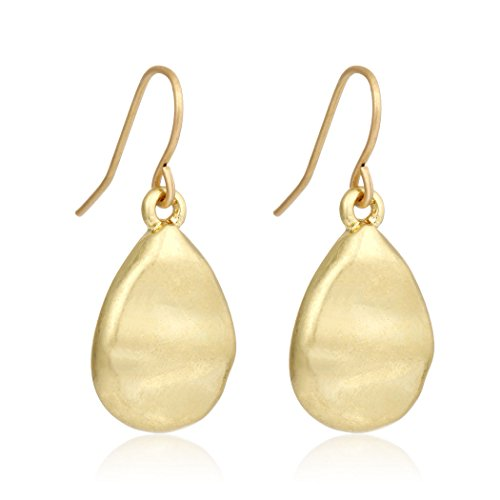 [Fashion Simple 14k Gold Plated Alloy Waterdrop Matte Dangle Earring (Gold)] (Alloy Matte)
