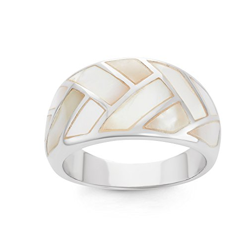 Sterling Silver Mother of Pearl Designed Wide Ring (Size -