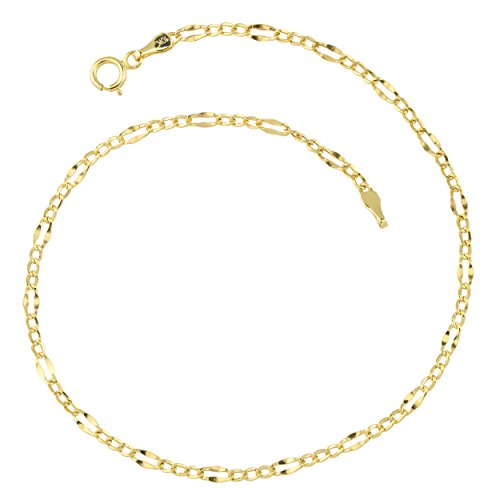 10k Yellow Gold Figaro Link Anklet (2.3mm, 9 inch) by Kooljewelry