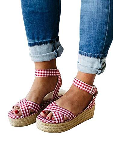 Syktkmx Womens Strappy Flatform Espadrille Sandals Summer Slingback Platform Ankle Strap Sandals D-red (White Dress Red Gingham)