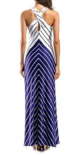 Dress Long Slim Vest Sleeveless Cross Blue Evening Womens Back Stripe Dress Jaycargogo qvwza4v