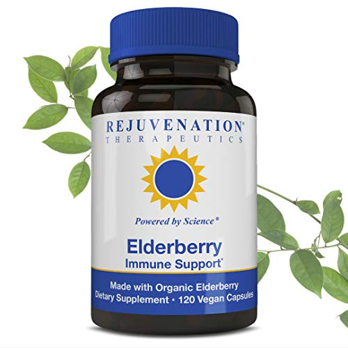 Extract Organic Elderberry (Rejuvenation Therapeutics Premium Organic Elderberry - Organic Elderberry Extract - Elderberry Capsules for Immune Support - Elderberry Cold Fighter - Vegan Friendly)