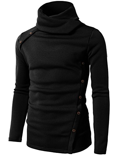 - H2H Men's 100% Combed Cotton Supersoft Relaxfit Casual Ski Turtleneck Black US 2XL/Asia 3XL (CMTTL065)