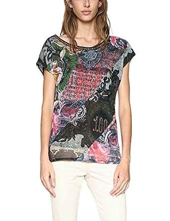 Desigual TS_denes, Camiseta para Mujer, Rojo (Salmon Palido 3015), Large