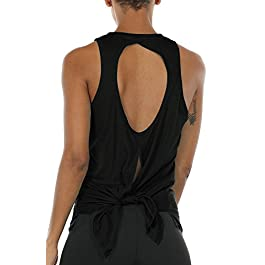 Open Back Workout Tank Top Shirts – Activewear Exercise Athletic Yoga Tops for Women