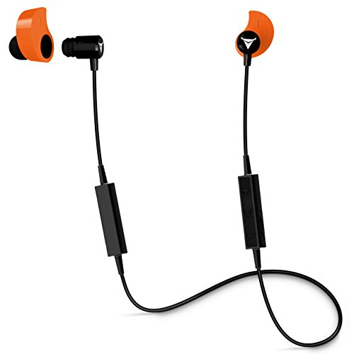 Decibullz - Custom-Fit Bluetooth Wireless Headphones, The First Custom Molded Wireless/Bluetooth Earphones (Orange)