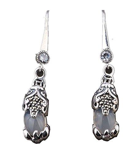 Chalcedony Floral Earrings - Micrkrowen Stone Brave Troops Chalcedony Silver Jewelry Earrings Eardrop(White)
