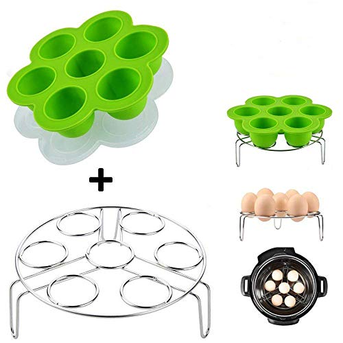 Kspowwin Green Silicone Egg Bites Molds With Stainless Steel