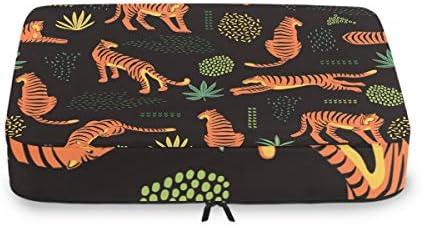抽象虎アート荷物パッキングキューブオーガナイザートイレタリーランドリーストレージバッグポーチパックキューブ4さまざまなサイズセットトラベルキッズレディース