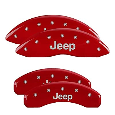 Image of Brake System MGP Caliper Covers 42020SJEPRD Set of 4 Caliper Covers Engraved Front and Rear: Jeep Red Powder Coat Finish Silver Characters. Disc Brake Caliper Cover Jeep Caliper Covers 42020SJEPRD: Red Jeep/Jeep