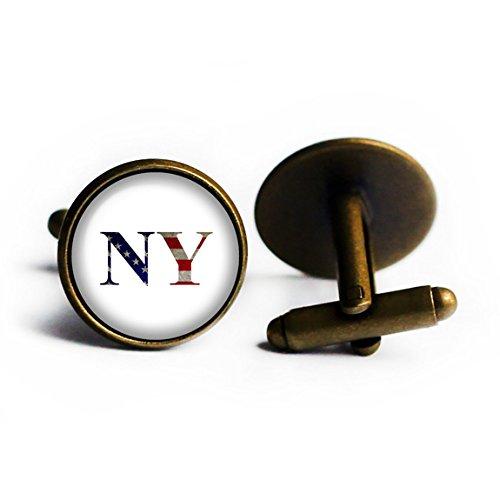 United States State Initials Flag New York NY Bronze Cufflinks