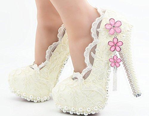 CSDM DONNE grandi dimensioni bianco pizzo scarpe di cristallo ciliegia scarpe da sposa scarpe da sposa diamante alto tacco alto handmade , 11 cm with high reservation , 45