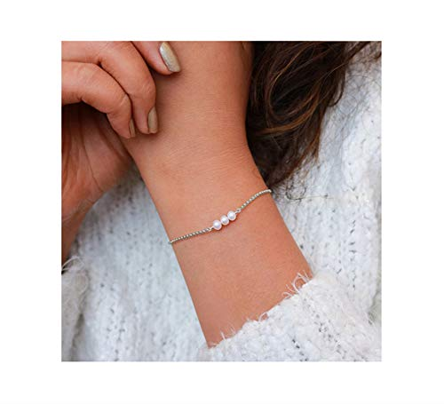 Fremttly Womens Minimal Jewelry Gift Dainty Tiny Freshwater Pearl Bracelet 14K Gold Fill/Rose Gold/Silver Plated Handmade Jewelry-BR-3Pearl-SL