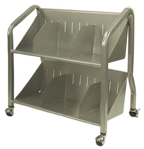 Buddy Products Sloped Two-Shelf Book Cart, Steel, 14.25 x 26 x 26, Silver (5413-3) by Buddy Products