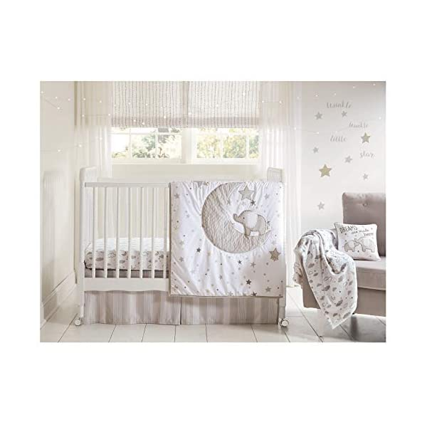 Wendy Bellissimo 4pc Nursery Bedding Baby Crib Bedding Set – Elephant in Grey