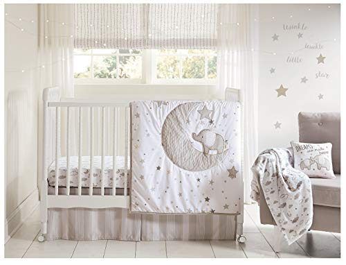 Wendy Bellissimo 4pc Nursery Bedding newly born baby Crib Bedding Set - Elephant in Grey