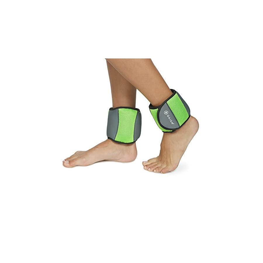 Gaiam Ankle Weights Strength Training Weight Sets for Women & Men with Adjustable Straps Walking, Running, Pilates, Yoga, Dance, Aerobics, Cardio Exercises (5lb Set Two 2.5lb weights)
