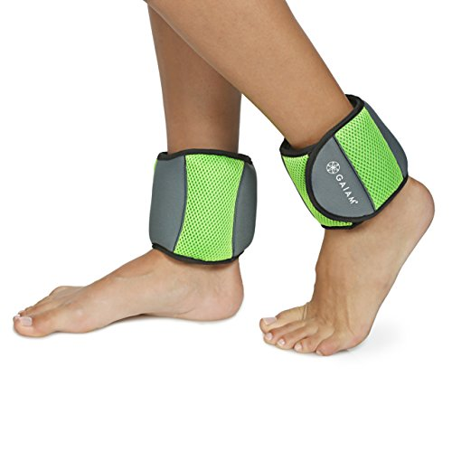 Gaiam Ankle Weights Strength Training Weight Sets for Women & Men with Adjustable Straps - Walking, Running, Pilates, Yoga, Dance, Aerobics, Cardio Exercises (5lb Set - Two 2.5lb weights)
