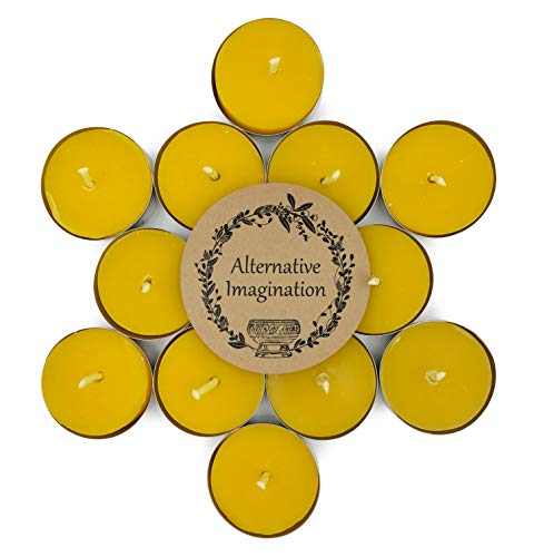 Pure Soy Tealights - Alternative Imagination Tealight Candles Made with Pure Beeswax (12 Pack)