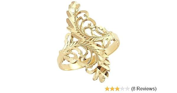 Amazon.com: Sonia Jewels 14k Yellow Gold Unique Ladies Leaf Design ...