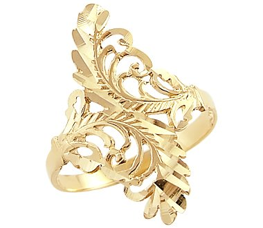 Amazon 14k Yellow Gold Unique La s Leaf Design Ring New