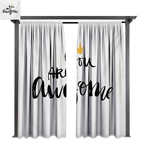 bybyhome Drape for Pergola Curtain Quote Ink Lettering You are Awesome Modern Brush Calligraphy and a Crown on Top W120 xL84 Suitable for Front Porch,pergola,Cabana,Covered Patio