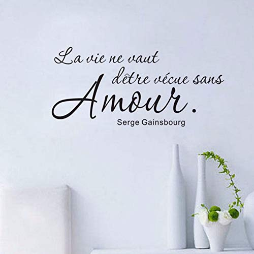 Dalxsh Romantic French Sayings Wall Sticker Wall Decal Art Vinyl Removable English Text Quote Home Decor Living Room 59x30cm -