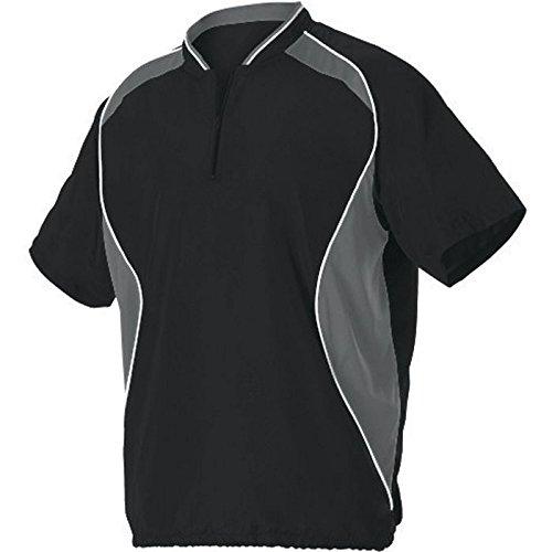 AllesonメンズShort Sleeve Baseball Batter 'sジャケット B00K4XQI9K M|ブラック/チャーコール ブラック/チャーコール M