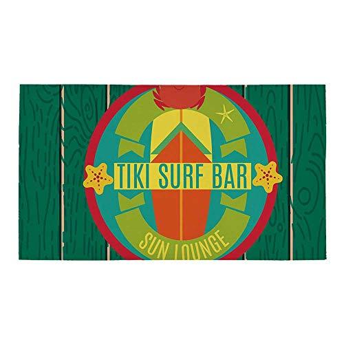 (C COABALLA Tiki Bar Decor Rectangular Bath Rug,Tiki Surf Bar Sun Lounge Holiday Vacation Theme Surfboard Crab Starfishes Decorative for Bathroom,28