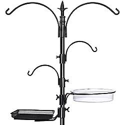 "GrayBunny GB-6844 Premium Bird Feeding Station Kit, 22"" Wide x 91"" Tall (82 inch above ground) Black, A Multi Feeder Hanging Kit & Bird Bath For Attracting Wild Birds, Birdfeeder and Planter Hanger"