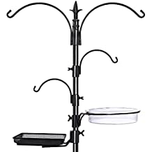 "GrayBunny GB-6844 Premium Bird Feeding Station Kit, 22"" Wide x 91"" Tall (82"" above ground height), A Multi Feeder Hanging Kit and Bird Bath For Attracting Wild Birds, Bird Feeder Stand"