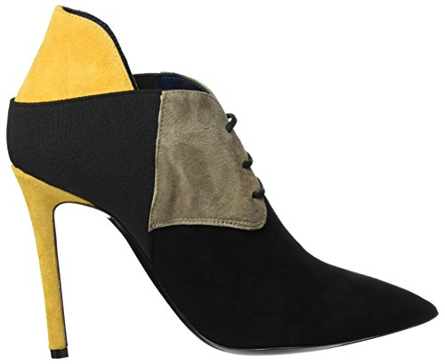 00a Pollini Richelieu Black Femme Mehrfarbig Beige Yellow Shoes 4RH41