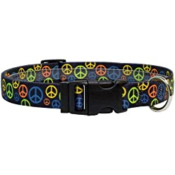 "Yellow Dog Design Neon Peace Signs Dog Collar, Medium-1"" wide fits neck sizes 14 to 20"" wide"