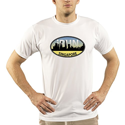 Split Time Men's Singapore iRun UPF Short Sleeve Running T-Shirt SIN-Large White (Singapore Triathlon)
