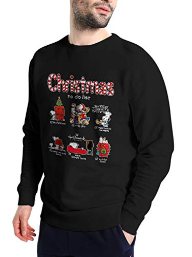 Snoopy Christmas to Do List - Funny Vintage Trending Awesome Shirt for The Peanuts Fans Unisex Style by SMLBOO Sweatshirt (Sweatshirt Black, M) ()