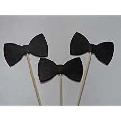 Black Bow Tie Cupcake Toppers - Food Picks - Party Picks - Tuxedo Wedding Toppers - Bowtie - Bowties(Set of 24)