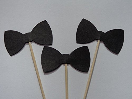 (Black Bow Tie Cupcake Toppers - Food Picks - Party Picks - Tuxedo Wedding Toppers - Bowtie - Bowties(Set of 24))