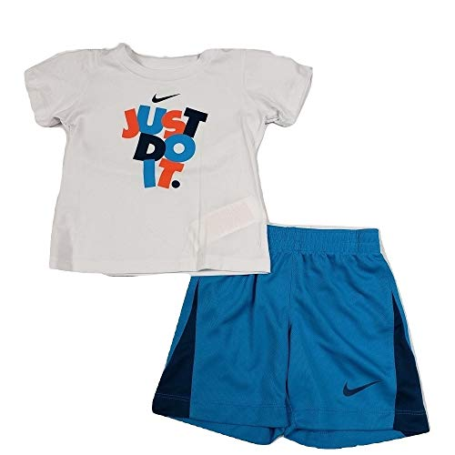 d89ac53e Nike Boys T-Shirt & Shorts 2 Pcs Set Outfit (White(66D251-001)/Blue 24  Months)