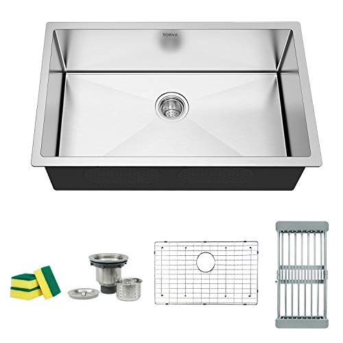 (TORVA 30 Inch 16 Gauge Stainless Steel Undermount Kitchen Sink Single Bowl 10