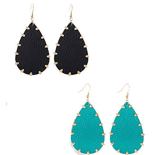 Women's Leather Earrings,Genuine Leather Drop Dangle Earrings Boho Big Statement Teardrop Earrings for Summer (Black and ()