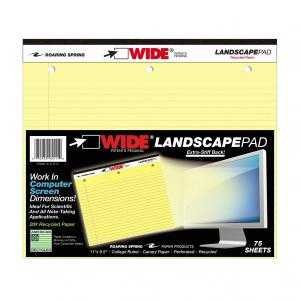 Bulk Wide Landscape Stiff Pads, Canary College Ruled Recycled, 75 Sheets: Roaring Spring 95511 (24 Landscape Pads) -