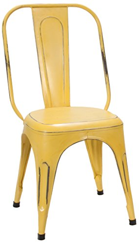 Home Elegance 5034YLWS Metal Chair, Rustic Yellow, Set of 4