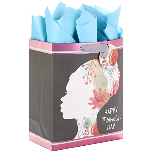 Hallmark Mahogany Large Mother's Day Gift Bag with Tissue Paper (Floral Silhouette) ()