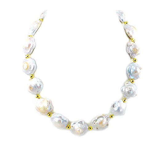 NEW! Large Cultured Freshwater Pearl Flower Keshi Pearl Gold Plated Clasp Necklace 19''N17020208c