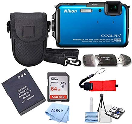 Digital Cameras Gps - Nikon COOLPIX AW110 Wi-Fi and Waterproof Digital Camera with GPS+ 64Gb Accessory Bundle (Blue)